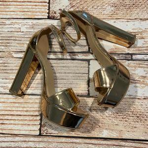 Speed Limit 98 bronze/gold platform heels size 11